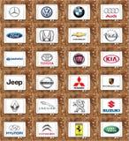 Marcas de fábrica famosas del coche del mundo Fotografía de archivo