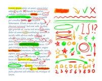 Marcas de la corrección del texto del vector, plantilla del texto, sistema de elementos del diseño, control del libro de ejercici stock de ilustración