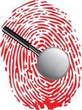 Marcas de la lupa y de la huella dactilar libre illustration