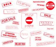Marcas de los sellos de goma Foto de archivo libre de regalías
