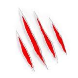 Marcas de rasguños rojas de la garra en el papel rasgado  Foto de archivo