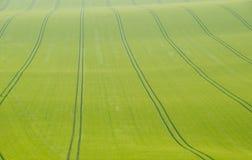 Marcas de resbalón en un campo de la cosecha imagenes de archivo