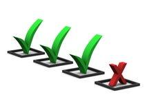 Marcas de verificação e marca de X Fotografia de Stock