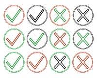 Marcas de verificación de iconos del esquema Imágenes de archivo libres de regalías