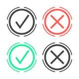 Marcas de verificación en círculo doble Foto de archivo libre de regalías