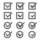 Marcas de verificación fijadas Imágenes de archivo libres de regalías