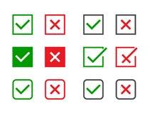 Marcas de verificación fijadas Señal verde y Cruz Roja en diversas formas SÍ o NINGÚN acepte y disminuya el símbolo Iconos del ve ilustración del vector