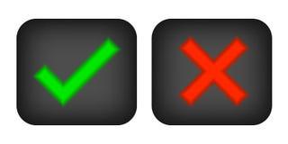 Marcas de verificación sí y no ilustración del vector