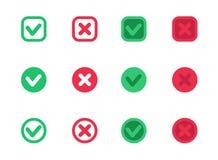 Marcas de verificación, señales del vector, cruces, rojo y verde libre illustration