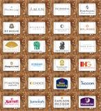 Marcas famosas superiores y logotipos de las cadenas del hotel y del centro turístico