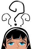 Marcas interrogativas principales aisladas mujer preocupante Imagen de archivo libre de regalías