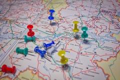 Marcas no mapa Imagem de Stock