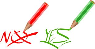 Marcas sim e No. Imagem de Stock