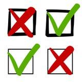Marcas verdes y Cruces Rojas en el sistema del ejemplo del vector de las cajas de control, iconos exhaustos de la se?al del s?mbo stock de ilustración