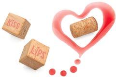 Marcas y corcho del amor del vino Imágenes de archivo libres de regalías