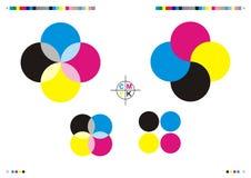 Marcas y insignias de la impresión de CMYK stock de ilustración