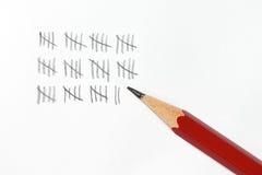 Marcas y lápiz de la cuenta Imagen de archivo libre de regalías