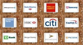 Marcas y logotipos de los bancos de los E.E.U.U. Imagen de archivo libre de regalías