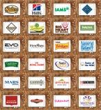 Marcas y logotipos del alimento para animales Imágenes de archivo libres de regalías