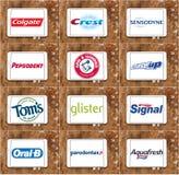 Marcas y logotipos famosos superiores de la crema dental Imágenes de archivo libres de regalías