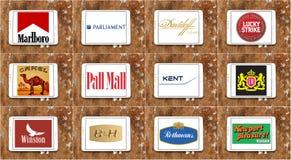 Marcas y logotipos famosos superiores del cigarrillo stock de ilustración