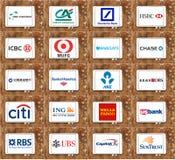 Marcas y logotipos globales superiores de los bancos Imagen de archivo