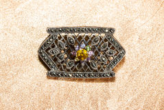 Marcasite brooch with central gemstone Stock Photography