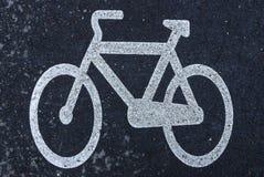 Marcatura bianca della bicicletta Immagini Stock