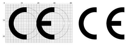 Marcatura CE breve per il simbolo di Conformite Europeenne Dimensioni corrette secondo lo strato ufficiale della costruzione illustrazione vettoriale