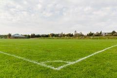 Marcatura d'angolo del campo da calcio Fotografia Stock Libera da Diritti