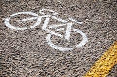Marcature del vicolo della bici Fotografie Stock Libere da Diritti