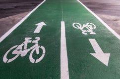 Marcature della pista ciclabile Immagine Stock