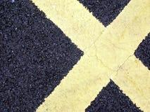 Marcature di strada nella figura della X Fotografia Stock Libera da Diritti