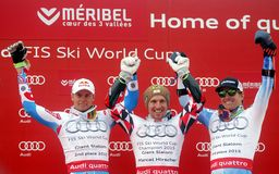 Marcel Hirscher, Alexis Pinturault and Ted Ligety 2015 World Cup in Meribel Royalty Free Stock Image