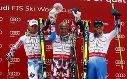 Marcel Hirscher, Alexis Pinturault and Ted Ligety 2015 World Cup in Meribel Stock Photos