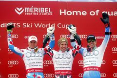 Marcel Hirscher, Alexis Pinturault and Ted Ligety 2015 World Cup in Meribel Stock Image