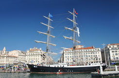 Marcellin two-masted schooner at the pier in the Old Port of Marseille Royalty Free Stock Photo