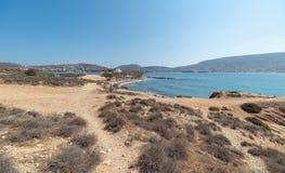 Marcello beach and Agios Fokas - Cyclades island - Aegean sea - Paroikia Pariki. View of Agios Fokas - Cyclades island - Aegean sea - Paroikia Parikia Paros royalty free stock photo