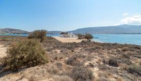 Marcello beach and Agios Fokas - Cyclades island - Aegean sea - Paroikia Pariki. View of Agios Fokas - Cyclades island - Aegean sea - Paroikia Parikia Paros royalty free stock photos
