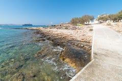 Marcello beach and Agios Fokas - Cyclades island - Aegean sea - Paroikia Parikia Paros - Greece. View of Marcello beach and Agios Fokas - Cyclades island royalty free stock image