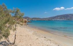 Marcello beach and Agios Fokas - Cyclades island - Aegean sea - Paroikia Parikia Paros - Greece. View of Marcello beach and Agios Fokas - Cyclades island royalty free stock photo