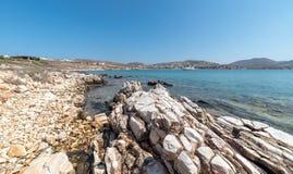 Marcello beach - Cyclades island - Aegean sea - Paroikia Pariki. View of Marcello beach - Cyclades island - Aegean sea - Paroikia Parikia Paros - Greece stock photography
