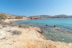 Marcello beach - Cyclades island - Aegean sea - Paroikia Pariki. View of Marcello beach - Cyclades island - Aegean sea - Paroikia Parikia Paros - Greece stock images