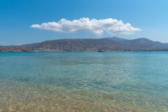 Marcello beach - Cyclades island - Aegean sea - Paroikia Pariki. View of Marcello beach - Cyclades island - Aegean sea - Paroikia Parikia Paros - Greece royalty free stock photo