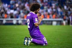 Marcelo joue à la correspondance de Liga de La entre les CF de RCD Espanyol et de Real Madrid au stade de RCDE photographie stock