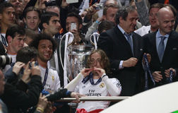 Marcelo , Luka Modric and Michel Platini Final Champion League 2014 Stock Photos