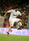 Marcelo Vieira of Real Madrid. In action during the Spanish Supercup football match between FC Barcelona and R Madrid at the New Camp Stadium in Barcelona, on Stock Image