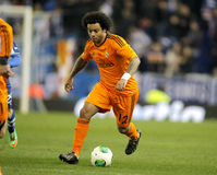 Marcelo Vieira of Real Madrid. During the Spanish Kings Cup match between Espanyol and Real Madrid at the Estadi Cornella on January 21, 2014 in Barcelona Stock Images
