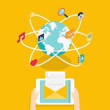 Marceting concept of running email campaign, email advertising, Stock Images