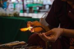 Marché, atelier et ventes de fusion en verre d'artisan Photo libre de droits